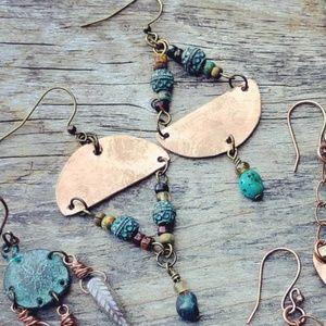 New🌿Asymmetric Half Moons, Verdigris & Turquoise